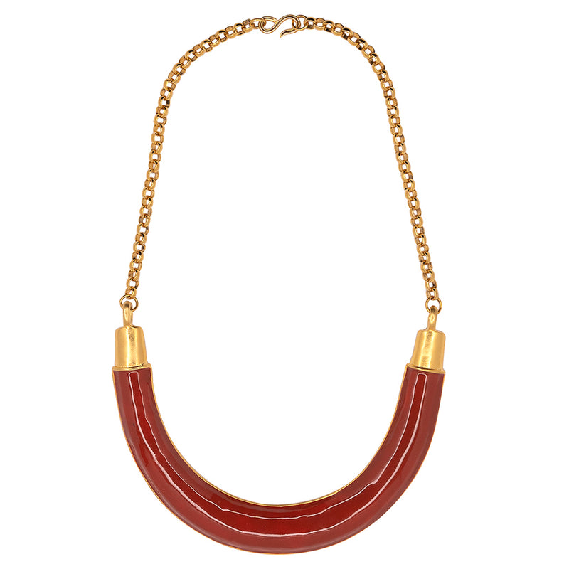 Gold And Medium Coral Bib Necklace