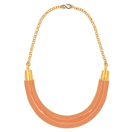 Gold And Coral Bib Necklace
