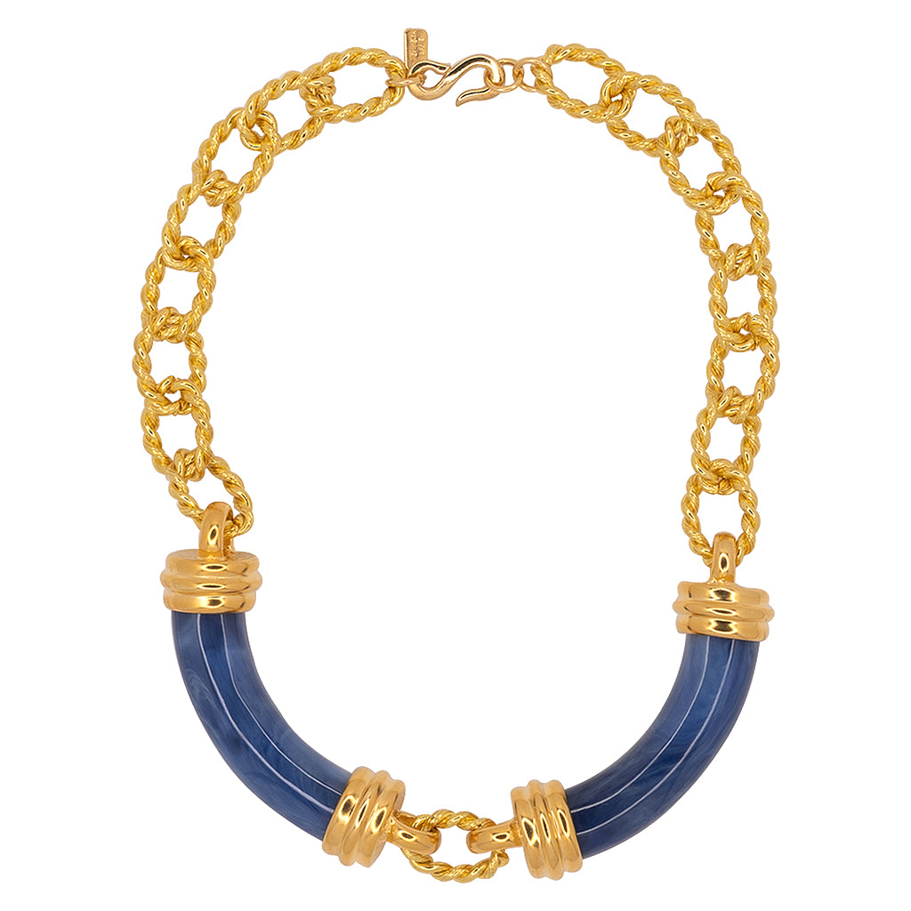 Kenneth Jay Lane Gold And Amber Link Tube Necklace Lapis