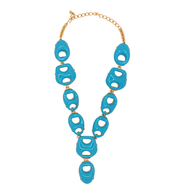 Turquoise Open Link Drop Necklace