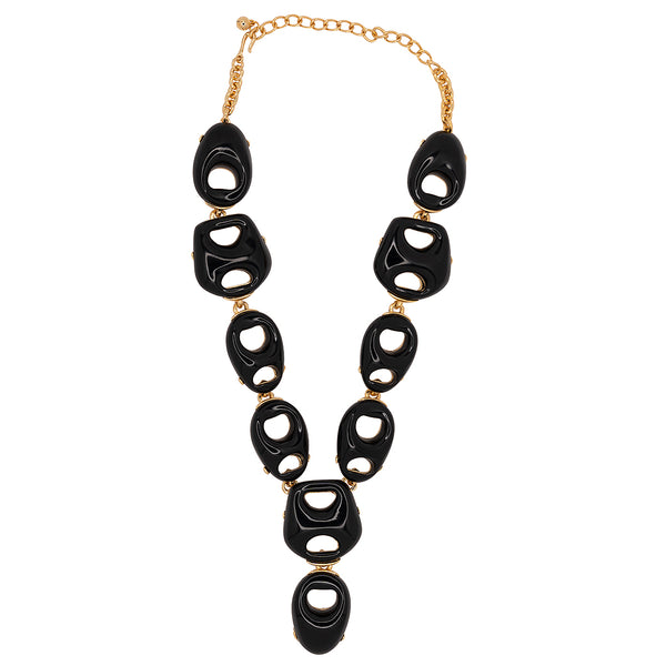Black Open Link Drop Necklace