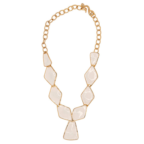 White Diamond And Triangle Drop Necklace