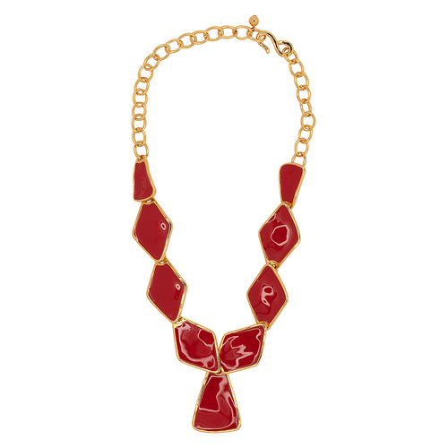 Red Diamond And Triangle Drop Necklace