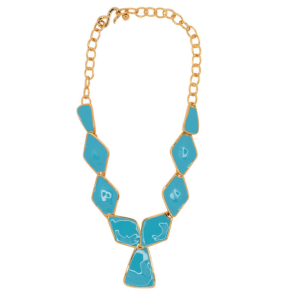 Turquoise Diamond And Triangle Drop Necklace