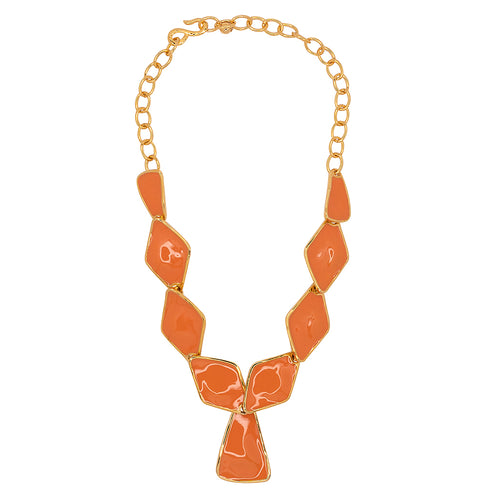 Coral Diamond And Triangle Drop Necklace