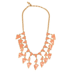 Coral Enamel Geo Drops Necklace