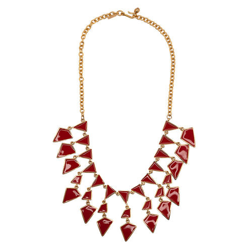 Red Enamel Geo Drops Necklace