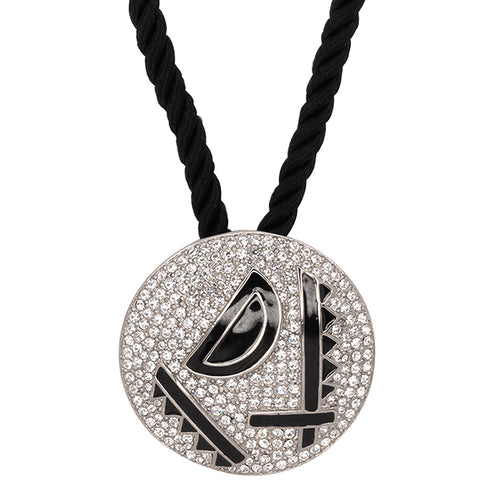 Black Enamel Deco Pendant Necklace