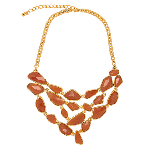 Gold & Amber Bib Necklace