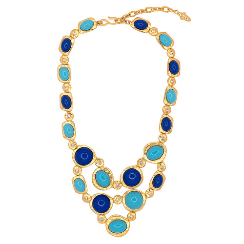 Gold, Lapis & Turquoise Statement Necklace