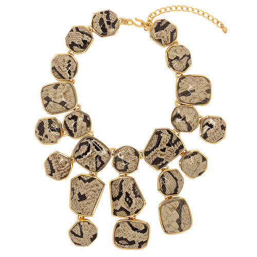 Snake Skin Print Bib Necklace