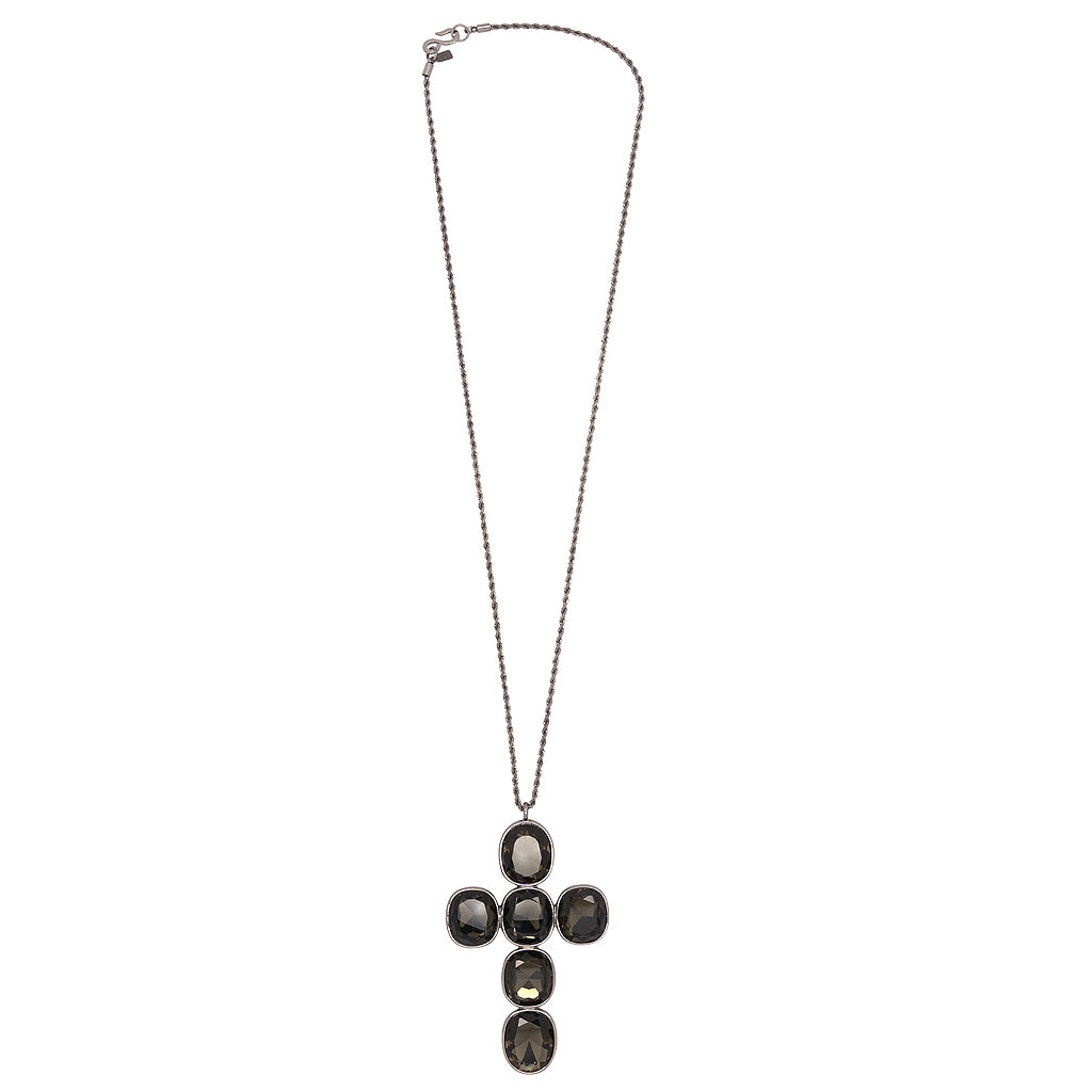 Headlight Stone Cross Chain Necklace