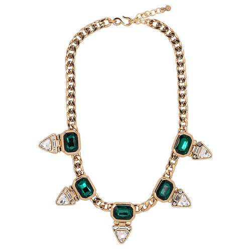 Crystal Triangle Bottom Drop Necklace