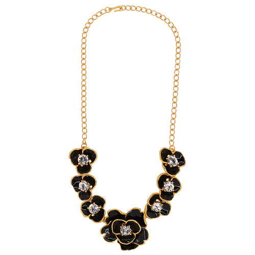 Black Enamel & Crystal Flower Necklace