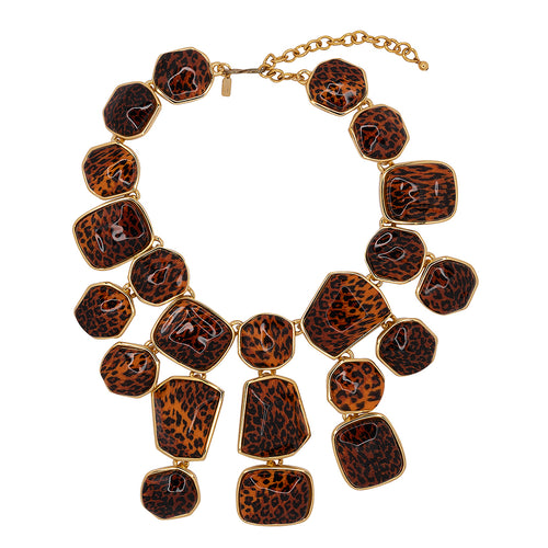 Leopard Print Bib Necklace