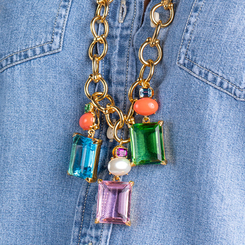 KJL X BRANDON MAXWELL - MULTICOLOR GLASS NECKLACE