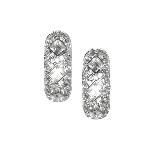 Crystal Half Hoop Clip Earrings