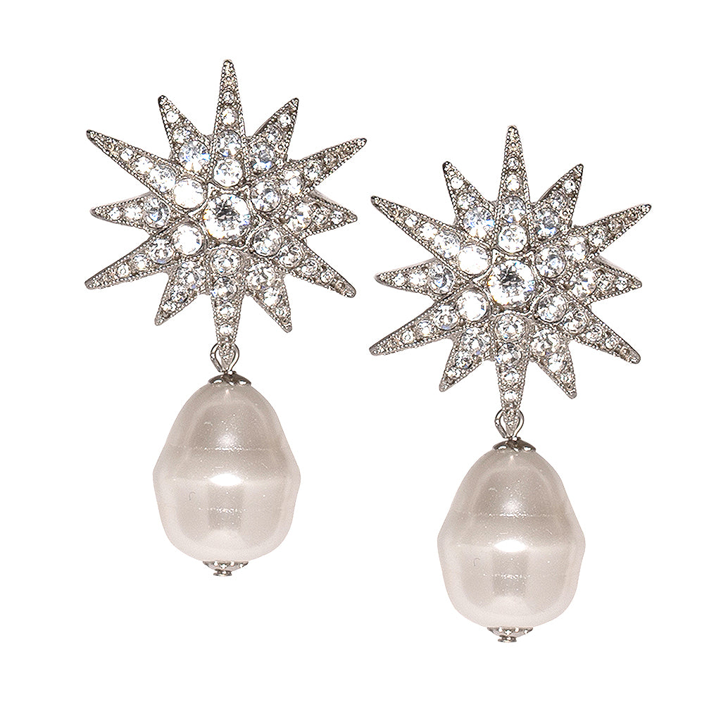 Joan Collins in Starburst And Baroque Pearl Pierced Earrings
