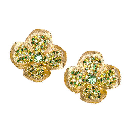 Green Rhinestone Flower Clip Earrings