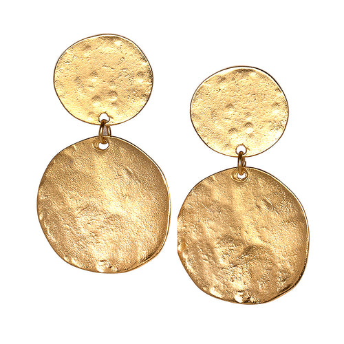 Gold Coin Double Drop Clip Earring