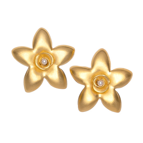 Gold and White Pearl Flower Clip Earring