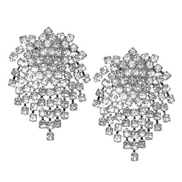 Silver & Crystal Cluster Earring