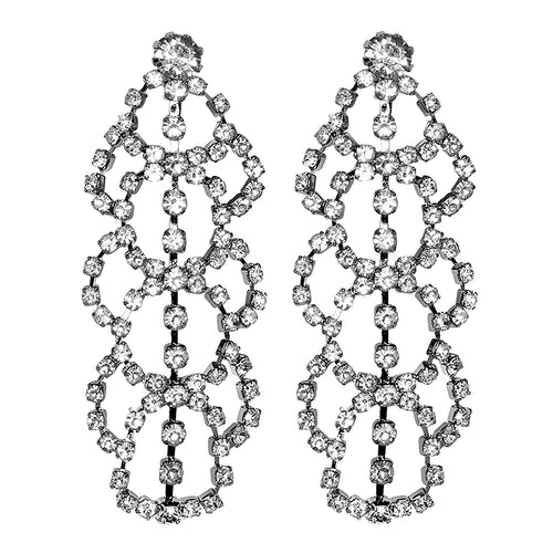 Silver Crystal Lace Drop Clip Earrings