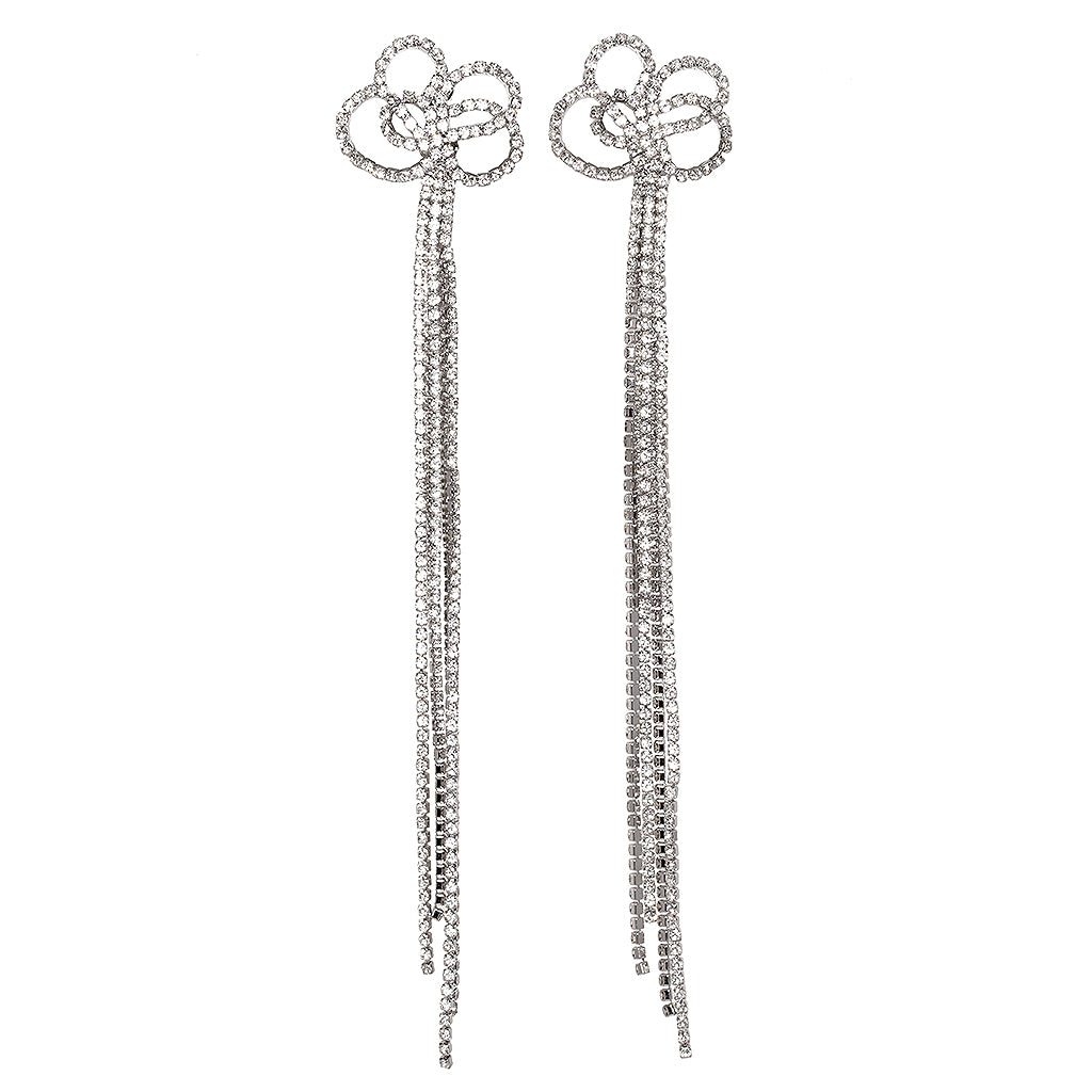 Long Crystal Clip Earrings