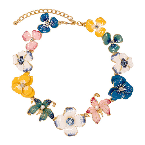 China Blue Flower Necklace