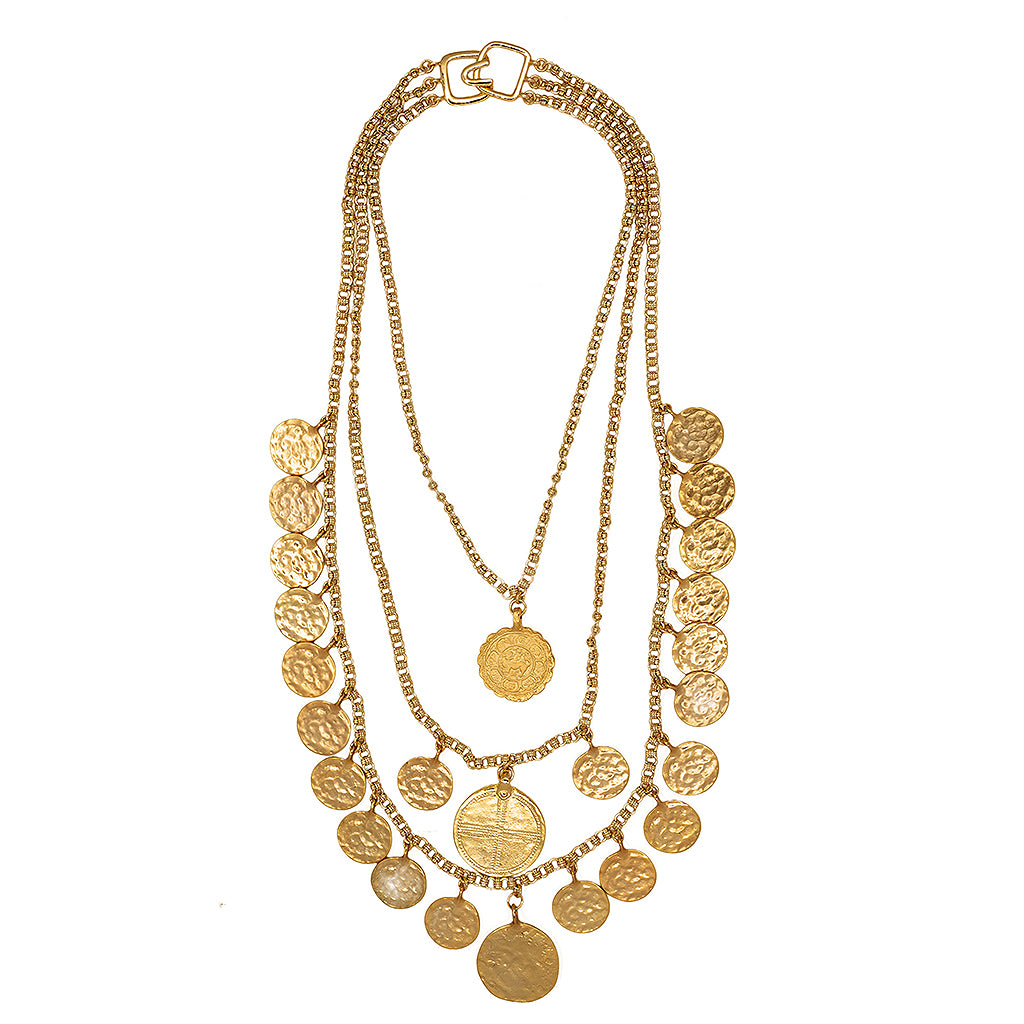 3 Row Multi Coin Necklace