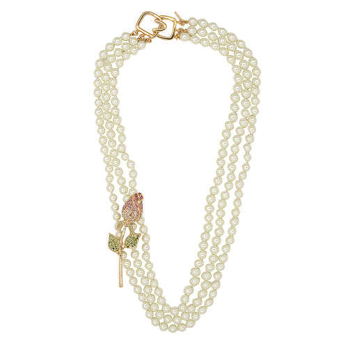 3 Row Pearl And Flower Necklace