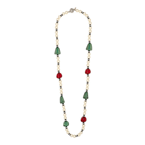 White Pearl, Emerald & Ruby Stations Necklace