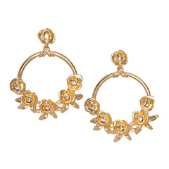 Flower and Crystal Hoop Pierced Earring