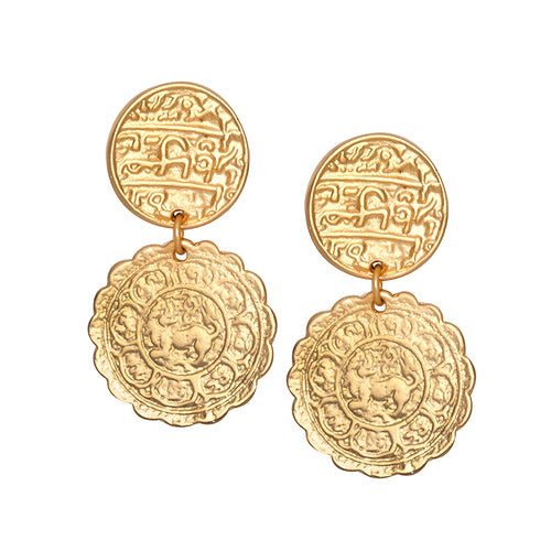 Coin Drop Clip Earrings