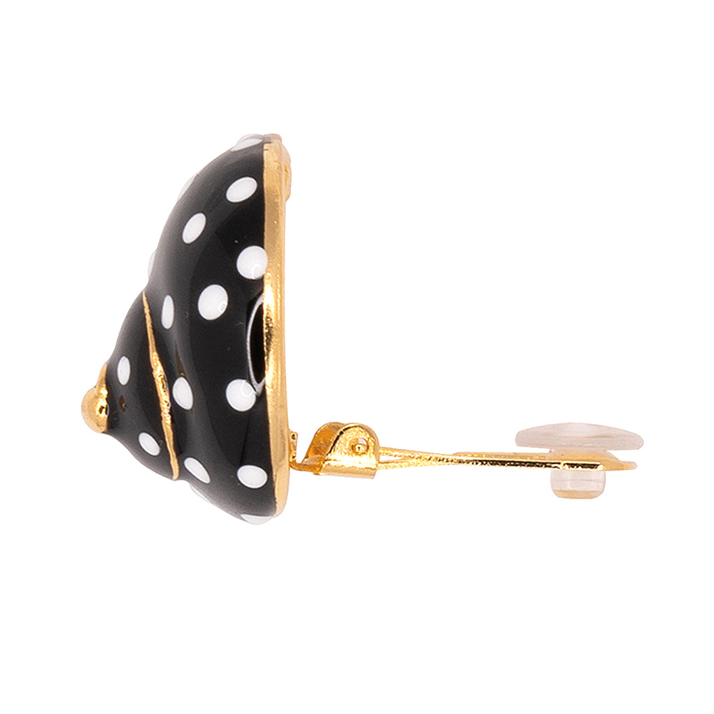 Shell Clip Earrings - White Dots