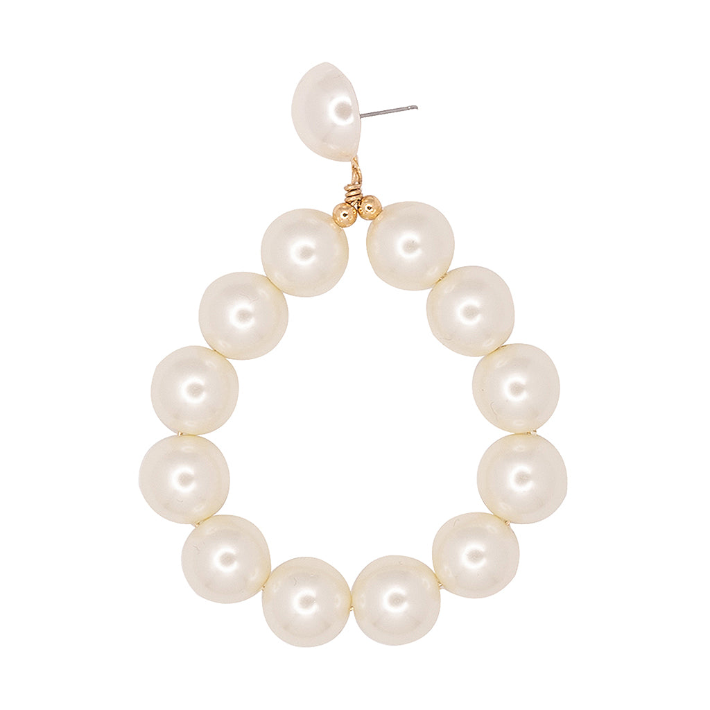 Gold And White Pearl Ball Hoop Pierced Earrings
