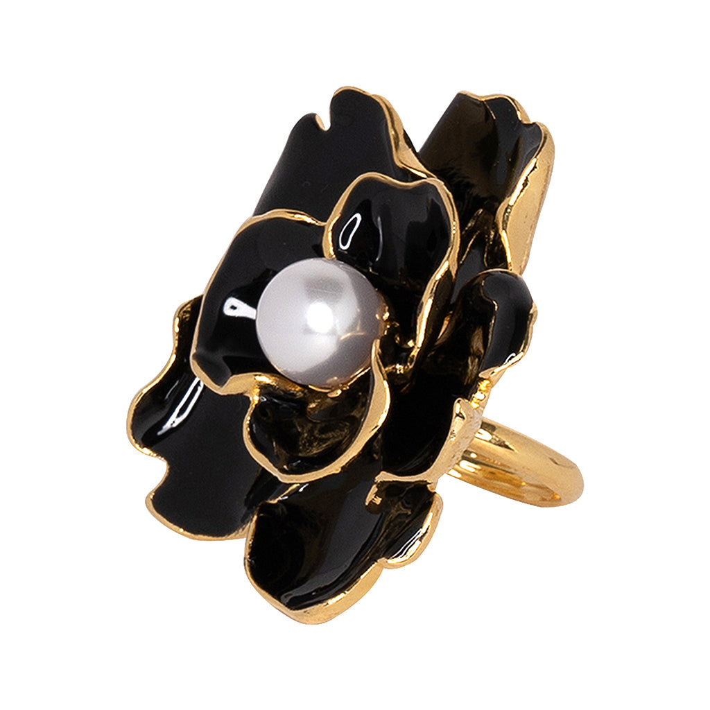 Black Enamel Flower Ring