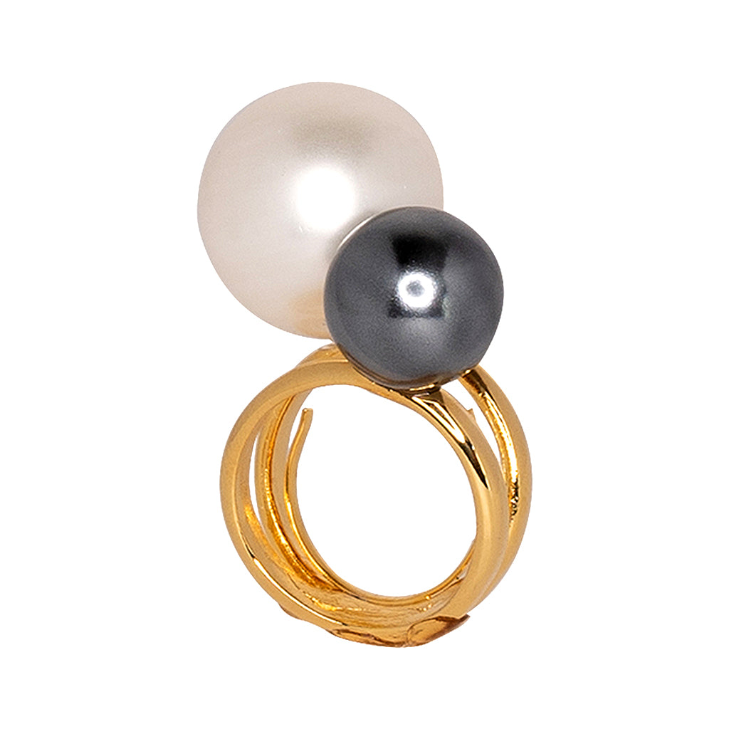 White & Gray Double Pearl Ring