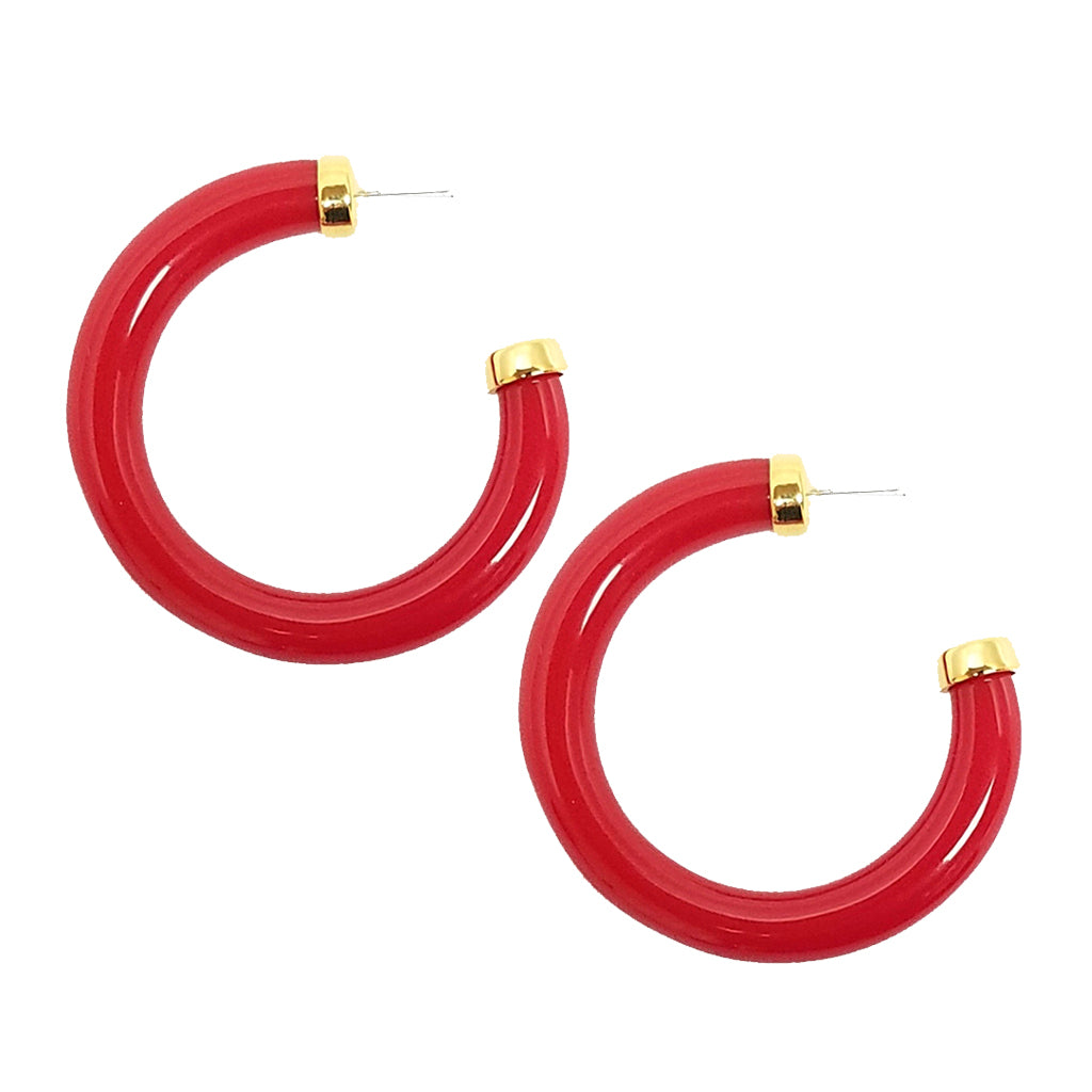 Large Polished Red Resin Gold Ends Hoop Pierced Earrings