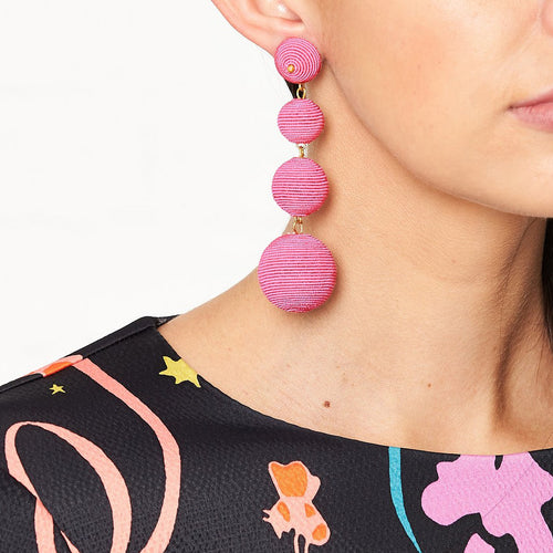 Pink Thread Wrapped Ball Pierced Earrings