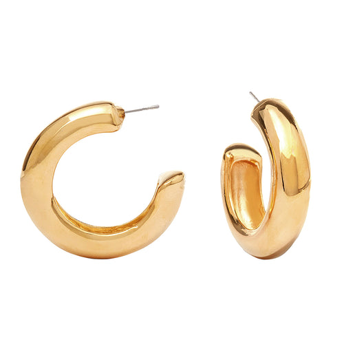 BOF/ September 2017 - Polished Gold Tube Hoop Pierced or Clip Earrings