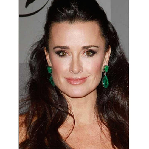 Kyle Richards in the Emerald Teardrop Pierced or Clip Earrings