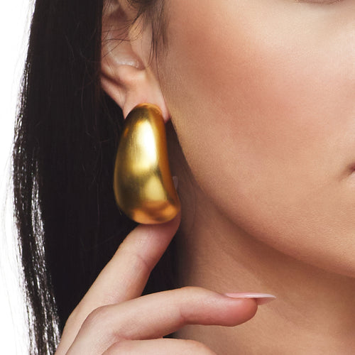 Long Satin Gold Tapered Hoop Clip Earring