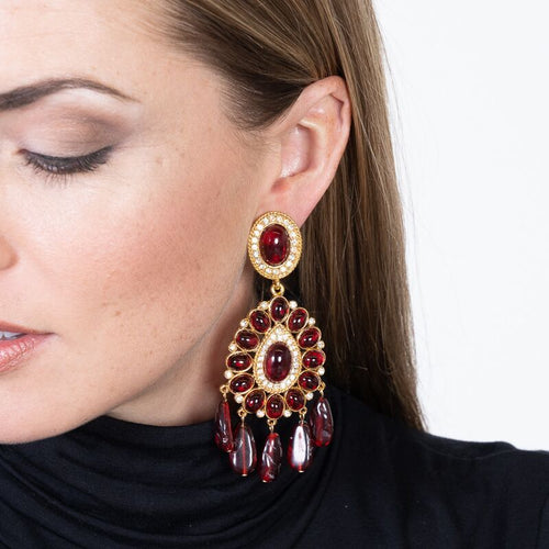 Gold & Ruby Drop Clip Earrings