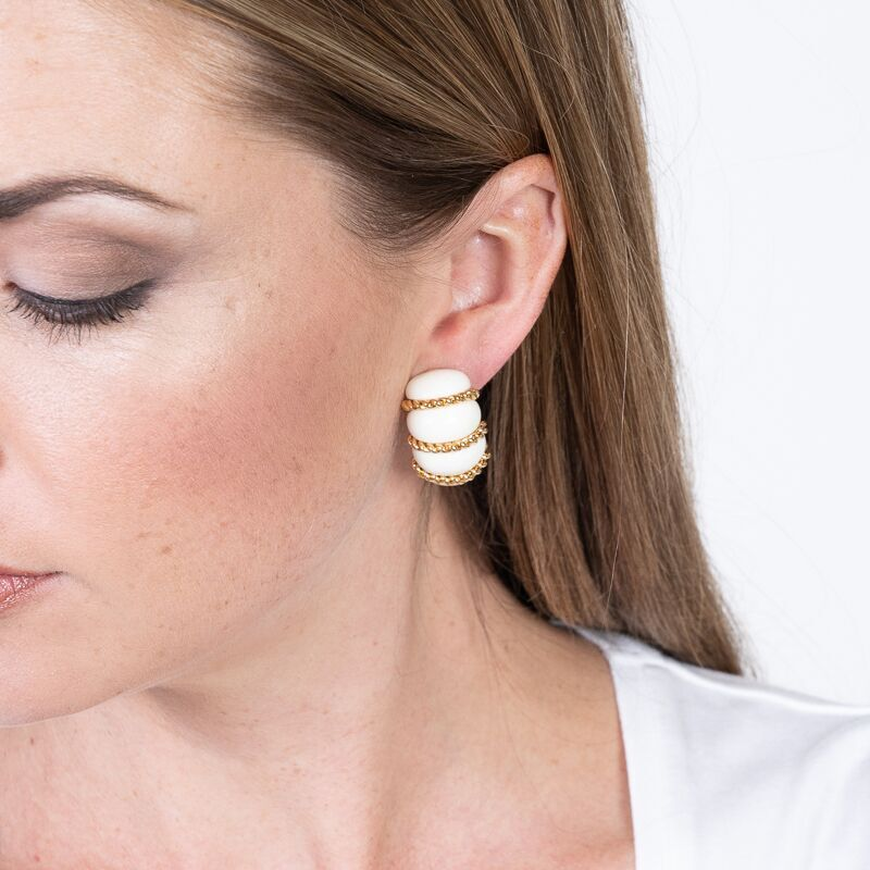 White Resin Gold Wire Wrapped Clip Earrings