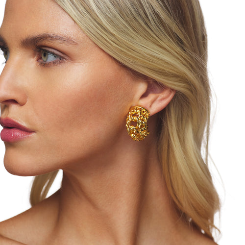 Polished Gold Braided Clip Earrings