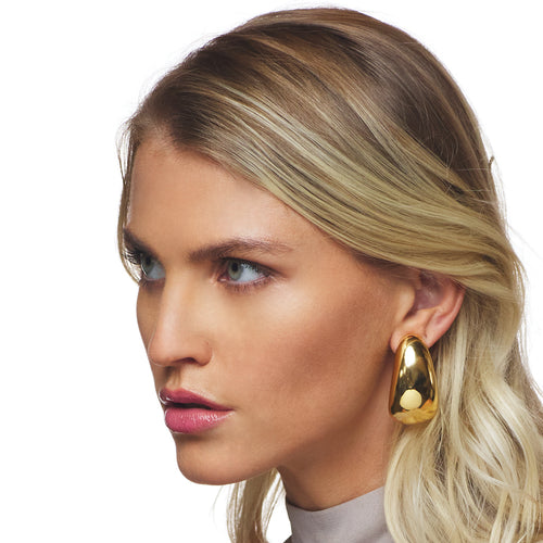 Polished Gold Long Tapered Hoop Clip Earring