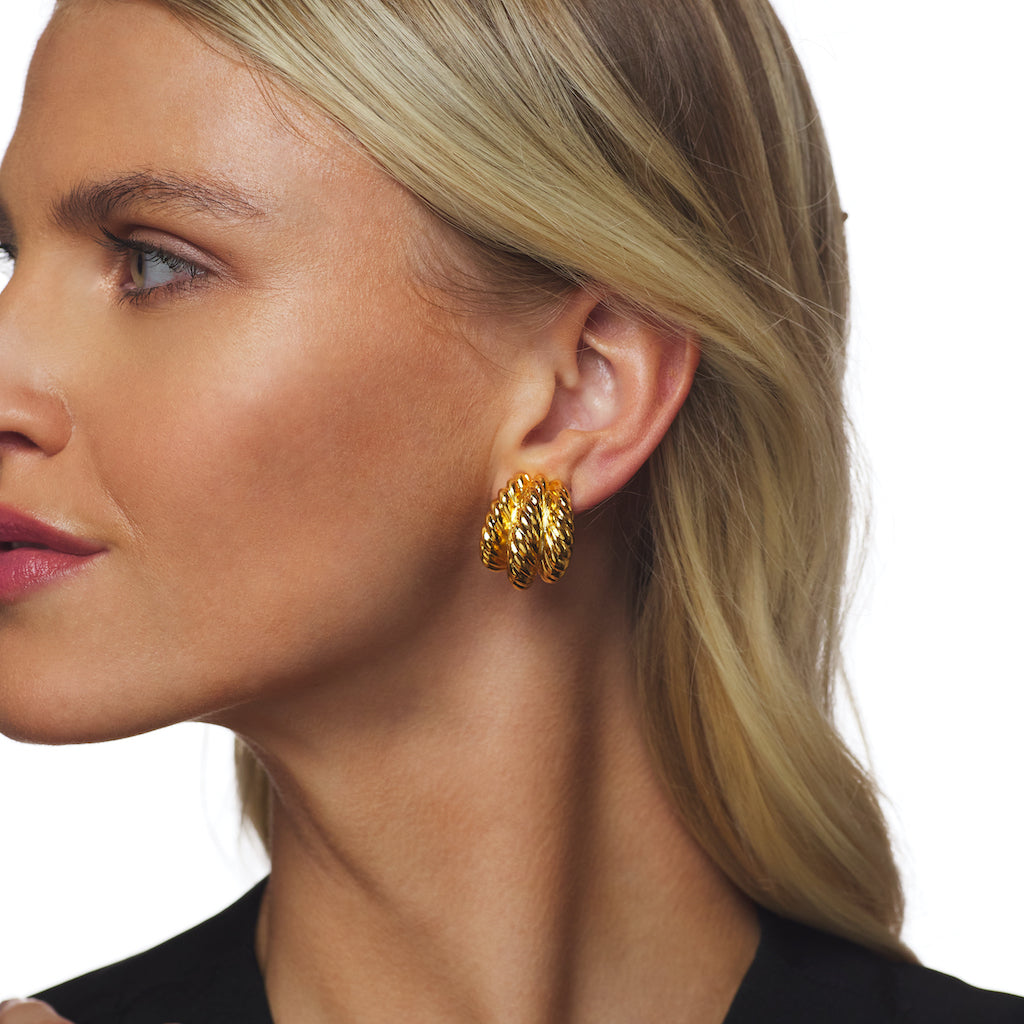 Polished Gold Twist Hoop Clip Earring