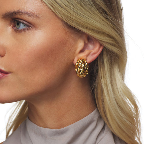 Polished Gold Weave Clip Earring