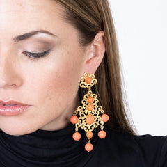 Filagree & Coral Drop Clip Earring